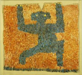 A Fine And Rare Nasca Feathered Panel, With The Figure Of A Monkey