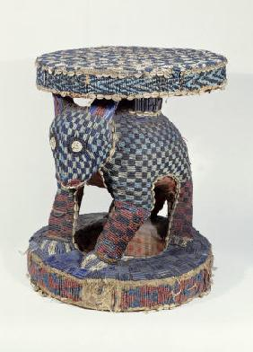 A Fine Cameroon Beaded Stool, The Support Carved As A Leopard, 19th Century