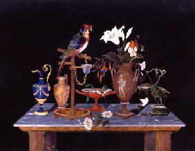 A Florentine Pietra Dura Plaque With A Parrot On Its Perch On A Table  With An Etruscan Krater Vase,