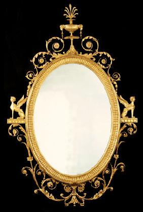 A George III Giltwood Mirror After Design By Robert Adam (1728-1792)