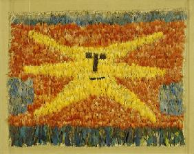 A Huari Feathered Panel Sewn All Over With Feathers On A Cotton Ground With A Yellow Sunburst Face W