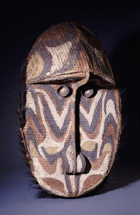 A Large Iatmul Woven Rattan Gable Mask, Of Oval Form With Projecting Forehead