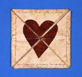 An Early Hand-Made Puzzle Purse Valentine, Circa 1790
