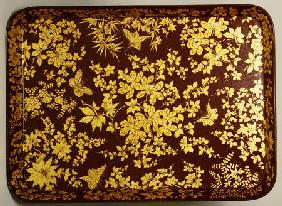 An Early Victorian Bronzed Japanned Papier Mache Rounded Rectangular Tray