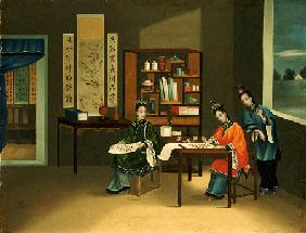 An Interior With A Woman Painting Flowers