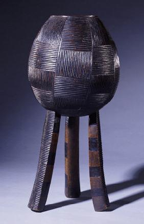 An Ovoid Swazi Vessel With Chequerboard Horizontal And Vertical Grooves