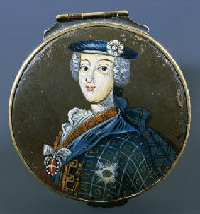 A Painted Metal Snuff Box, The Cover With A Half Length Portrait Of Prince Charles Edward Stuart (17