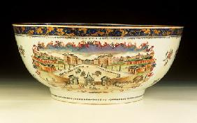A Rare Famille Rose ''London'' Punchbowl With A View Of The Foundling Hospital, London