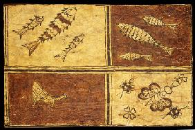 A Rare Melanesian Painted Bark Cloth Decorated With A Fowl, Exotic Butterflies And Fishes On Reddish