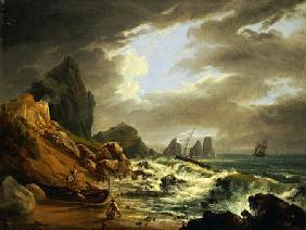 A Rocky Coastal Landscape With Figures On A Beach