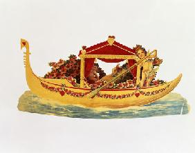 A Three Dimensional Valentine Card Of A Gondola Rowed By A Cupid With A Princess Underneath A Paper