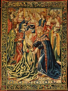 A Tournai Tapestry In Wools And Silks Depicting A Royal Marriage