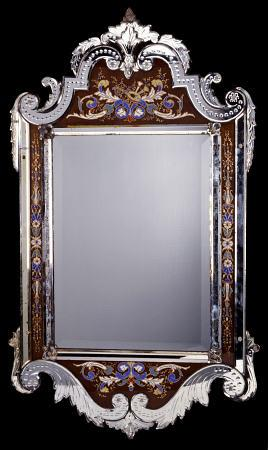 A Venetian Glass Framed Wall Mirror, Late 19th Or Early 20th Century