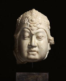 A Very Rare Finely-Carved White Marble Head Of A Lokapala