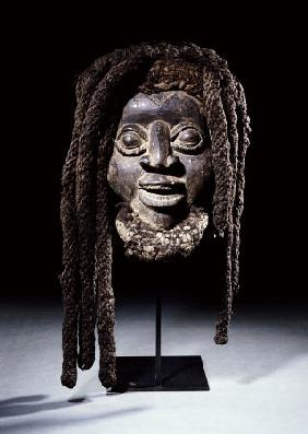 A Wum Mask With Plaited Fibre And Human Hair Coiffure - Western Grasslands, Cameroon