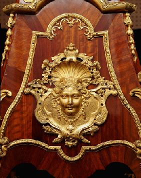 Detail From An Early Louis Xv Ormolu-Mounted Bois Satine And Amaranth Pedestal , Circa 1730, Attribu