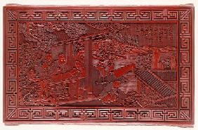 Detail From A Red Lacquer Rectangular Low Table Top, Depicting A Scholar In A Pavilion With Three At