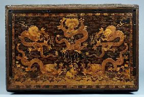 Detail Of A Seat Panel From An Important Imperial Polychrome Lacquer Throne, Early 18th Century