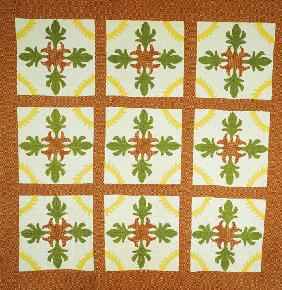 Pieced And Appliqued Cotton Coverlet
