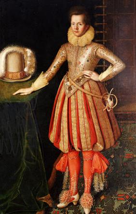 Portrait Of A Gentleman, Full Length, In A Doublet Embroidered With Flower Motif, Lace Ruff And Cuff