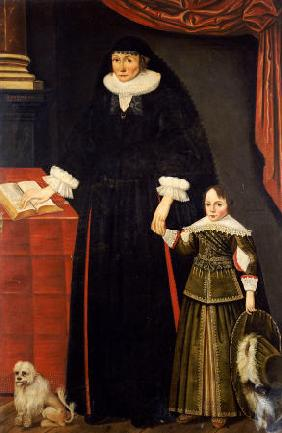 Portrait Of A Lady & A Young Boy, Perhaps Anne Bonham & Her Son, Hugh