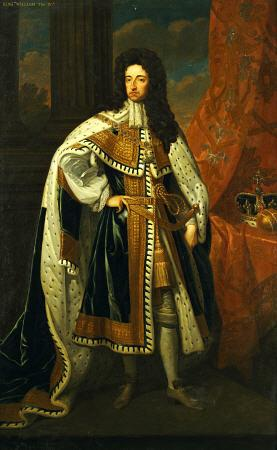 Portrait Of King William III (1650-1702), In State Robes, With The Crown And Orb On A Cushion Beside