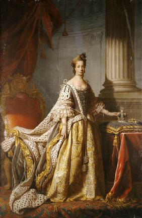 Portrait Of Queen Charlotte (1744-1818), Wife Of King George III, Full Length In Robes Of State