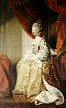 Portrait Of Queen Charlotte (1744-1818), Wife Of King George III, Full Length, Seated In Robes Of St