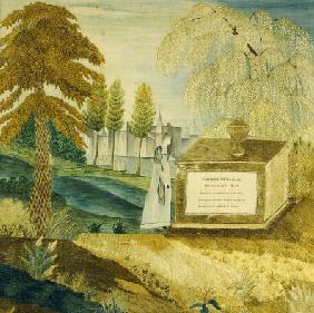 Silk-On-Silk Needlework Picture Depicting A Mourning Woman By The Tombstone Of Joseph Fox