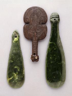 Three Maori Hand Clubs Including Two Made From Nephrite