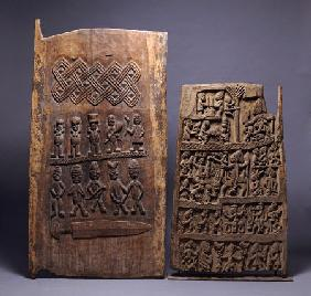 Two Yoruba Doors, One For A Shango Shrine, Both Carved In Relief With Various Figures