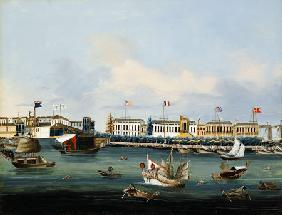 View Of The Waterfront At Canton With American, Dutch And British Factories