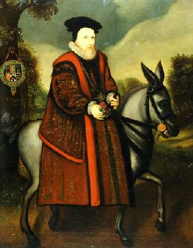 William Cecil, 1st Baron Burghley (1520-1598), Riding A Grey Mule, The Cecil Coat Of Arms Suspended