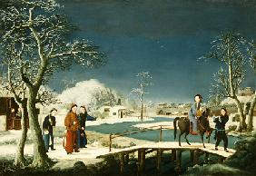 Winter: A Frozen River Landscape With A Lady On A Horse Crossing A Bridge