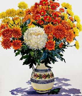 Chrysanthemums in a patterned jug