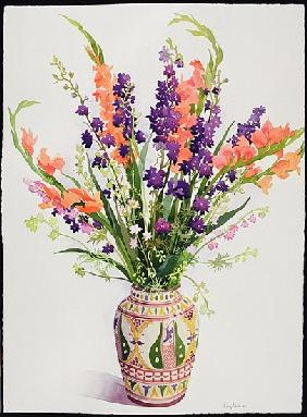 Larkspur and Gladioli in a Moroccan Vase (w/c)