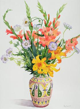 Orange and Blue Flowers in a Moroccan Vase (w/c)