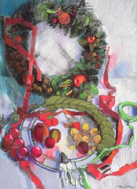 Making of Christmas Garlands (pastel on paper)