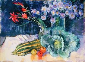 Still Life with Fruit and Flowers (mixed media)