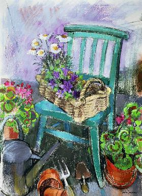Gardener''s Chair (pastel on paper)