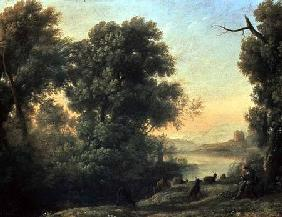 River landscape with Goatherd Piping