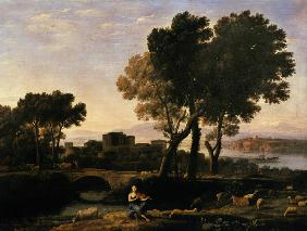 Landscape with Apollo guarding the Cattle of Admetus and Mercury stealing them