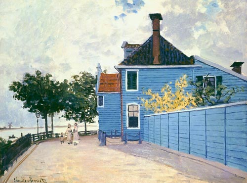 the blue house in zaandam claude monet as art print or. Black Bedroom Furniture Sets. Home Design Ideas