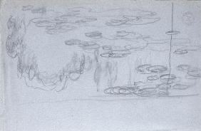 Water-lilies, c.1918 (black crayon on blue-crayon paper)