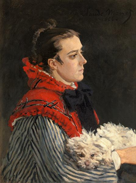 Camille Monet with dog.