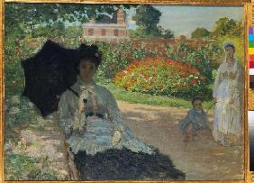 Camille Monet with son and nannies in the garden