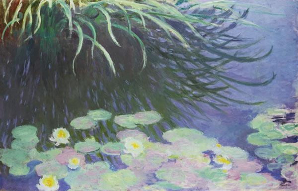 Water Lilies with Reflections of Tall Grass
