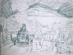 Sketch of the Interior of the Gare Saint-Lazare