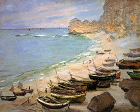 Boats on the beach of Etretat