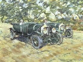 1929 Le Mans Winning Bentleys (acrylic on canvas)
